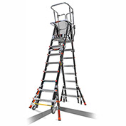 Little Giant Fiberglass Aerial Safety Cage Ladder, 8-14' Type 1AA - 18515-817