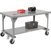 "Little Giant WW3048-8PHFL  Heavy Duty 7 gauge Mobile Workbench, 8"" Phenolic Casters & Floor Lock"