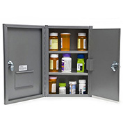 "Graham-Field 3007 Narcotic Safe, Double Door with Key Lock, 9-1/2""W x 4""D x 14-1/2""H, Gray"