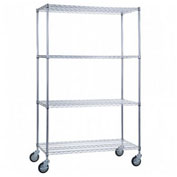 "R&B Wire Products LC183672 Mobile Linen Cart with 4 Wire Shelves, 36""L x 18""W x 78""H"