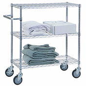 "R&B Wire Products UC1836 Mobile Linen Cart with 3 Wire Shelves, 36""L x 18""W x 42""H"