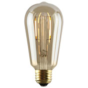 Luminance L7581-1 ST12 Nostalgia LED Filament Bulb in Amber, E26 Base, 2W, 180 Lumens, 2200K