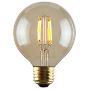 Luminance L7582-1 G25 Nostalgia LED Filament Bulb in Amber, E26 Base, 2W, 180 Lumens, 2200K