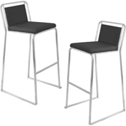 Lumisource Cascade Bar Stool - Leatherette - Black - 2 Pack