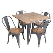 Lumisource Oregon 5-Piece Dining Set Aged Wood