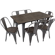 Lumisource Oregon 6-Piece Dining Set with Bench & 4 Chairs Espresso Wood