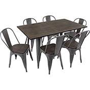 Lumisource Oregon 7-Piece Dining Set with Bench & 5 Chairs Espresso Wood