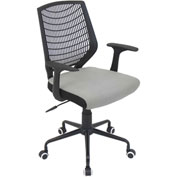"Lumisource Network Office Chair- 22""L x 25""W x 36-3/5 - 39-1/2""H, Black/Silver"
