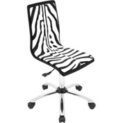 "Lumisource Printed Office Chair- 23""L x 23""W x 34 - 38-1/2""H, Zebra"