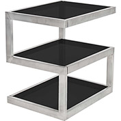 "Lumisource 5S Side Table 20-3/4""L x 16""W x 21-1/4""H Stainless/Black Glass"