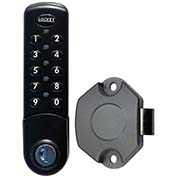 LockeyUSA Electronic Keypad Cabinet & Locker Lock EC780BVSLAM - Vertical Keypad - SLAM Latch - Black