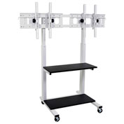 "Luxor Flat Panel Dual TV Cart, Crank Adjustable, for 32""-65"" LCD Monitors"