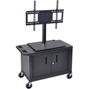 Luxor Mobile Cart With Universal LCD Mount and Steel Cabinet 32Wx18Dx44H