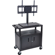 Luxor Mobile Cart With Universal LCD Mount and Steel Cabinet 32Wx18Dx54H