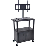 Luxor Mobile Cart With Universal LCD Mount and Steel Cabinet 32Wx18Dx57H