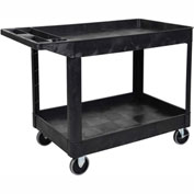 "Luxor&#174:XLC11SP6-BTwo Shelf Heavy Duty Utility Cart With 6 "" Caster-Black"