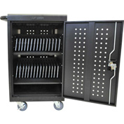 Luxor Tablet & Chromebook™ USB Charging Cart for 30 Devices, Black