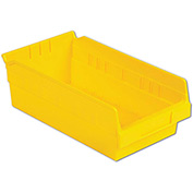 "LEWISBins Plastic Shelf Bin Nestable SB126-4 - 6-5/8""W x 11-5/8""D x 4""H, Yellow - Pkg Qty 12"