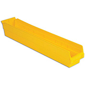 "LEWISBins Plastic Shelf Bin Nestable SB244-4 - 4-1/8""W x 23-5/8""D x 4""H, Yellow - Pkg Qty 12"