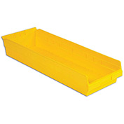 "LEWISBins Plastic Shelf Bin Nestable SB248-4 - 8-3/8""W x 23-5/8""D x 4""H, Yellow - Pkg Qty 6"