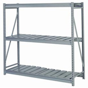 "Bulk Storage Rack Starter, 3 Tier, Ribbed Decking, 60""W x 24""D x 72""H Gray"