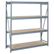 "Bulk Storage Rack Starter, 4 Tier, Particle Board, 60""W x 24""D x 96""H Gray"