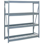 "Bulk Storage Rack Starter, 4 Tier, Wire Decking, 60""W x 24""D x 96""H Gray"