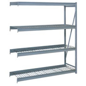 "Bulk Storage Rack Add-On, 4 Tier, Wire Decking, 60""W x 24""D x 96""H Gray"