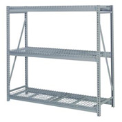 "Bulk Storage Rack Add-On, 3 Tier, Wire Decking 72""W x 24""D x 84""H Gray"