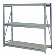 "Bulk Storage Rack Starter, 3 Tier Ribbed Decking, 96""W x 24""D x 72""H Gray"