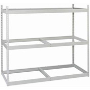 "Record Rack Add-On, Particle Board, 30 Box  Cap, 69""W x 16""D x 60""H, 3 Level Gray"
