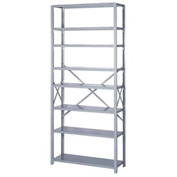 "Lyon Steel Shelving 20 Gauge 36""W x 12""D x 84""H Open Style 8 Shelves Gy Add-On"