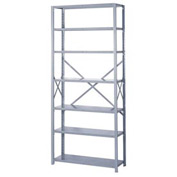 "Lyon Steel Shelving 20 Gauge 36""W x 12""D x 84""H Open Style 7 Shelves Gy Add-On"