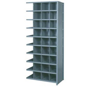 "Lyon Shelving Add-On DD8100H - 36 Compartment 10 Heavy-Duty Shelves, 36""Wx12""Dx84""H Gray"