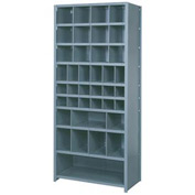"Lyon Shelving Starter DD8120S - 38 Compartment 10 Traditional Shelves, 36""Wx12""Dx84""H Gray"