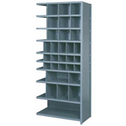 "Lyon Shelving Add-On DD8121 - 38 Compartment 10 Traditional Shelves, 36""Wx18""Dx84""H Gray"