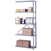 "Lyon Steel Shelving 18 Gauge 48""W x 24""D x 84""H Open Style 5 Shelves Gy Add-On"