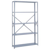 "Lyon Steel Shelving 48""W x 12""D x 84""H Open Offset Angle Style 10 Shelves Gy Starter"