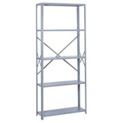 "Lyon Steel Shelving 36""W x 18""D x 84""H Open Offset Angle Style 10 Shelves Gy Starter"
