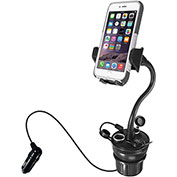 Macally Adjustable Car Cup Holder Phone Mount with 21W USB Charger & 2 Cigarette Lighter Sockets