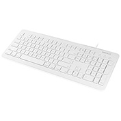 Macally 104 Key Full Size USB Keyboard with Two USB 2.0 Ports for Mac and PC, White