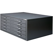 "Mayline® C-Files Five Drawer Stackable Steel File Cabinet for 30"" x 42"" Sheets Textured Gray"