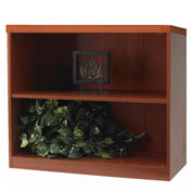 "Mayline® Aberdeen Series 36""W 2 Shelf Quarter Round with 1 Fixed Shelf Cherry"