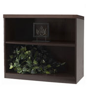 "Mayline® Aberdeen Series 36""W 2 Shelf Quarter Round with 1 Fixed Shelf Mocha"