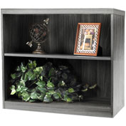 Mayline® Aberdeen Series 2 Shelf Bookcase with 1 Fixed Shelf Gray Steel