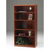 Mayline® Aberdeen Series 5 Shelf Quarter Round with 1 Fixed Shelf Cherry