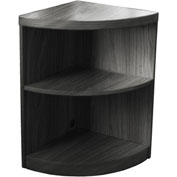 Mayline® Aberdeen Series 2 Shelf Quarter Round with 1 Fixed Shelf Gray Steel