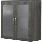 Mayline® Aberdeen Series Glass Display Cabinet Gray Steel