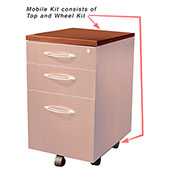 Mayline® Aberdeen Series Pedestal Mobile Kit for APBF20 Suspended Credenzas Cherry