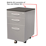 Mayline® Aberdeen Series Pedestal Mobile Kit for APBF20 Suspended Credenzas Gray Steel